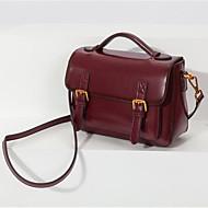 hesapli Satchel Çantalar-Kadın's Çantalar Gerçek Deri Kol Çantası Düğme için Ofis ve Kariyer İlkbahar yaz Gri / Kahverengi / Şarap