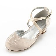 billige Sko til blomsterpiger-Pige Sko Blonde Sommer Efterår Tiny Heels for teenagere Sko til blomsterpiger Ankelrem Flade balletsko Komfort Hæle Bjergkrystal Spænde