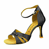 baratos Sapatilhas de Dança-Mulheres Sapatos de Dança Latina / Sapatos de Salsa Glitter / Courino Sandália / Salto Presilha / Cadarço de Borracha Salto Personalizado Personalizável Sapatos de Dança Prateado / Azul / Dourado