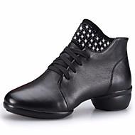ieftine Dance Boots-Pentru femei Cizme Dans Piele Adidași Toc Jos Pantofi de dans Negru / Maro / Roșu Închis / Performanță / Antrenament