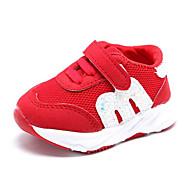 baratos Sapatos de Menina-Para Meninas Sapatos Tule Primavera Conforto Tênis Pedrarias / Velcro para Preto / Vermelho
