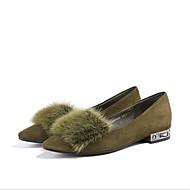 baratos Sapatos Femininos-Mulheres Sapatos Couro Primavera Verão Conforto Rasos Sem Salto Dedo Apontado Preto / Verde