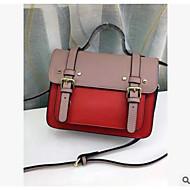 baratos Bolsas Satchel-Mulheres Bolsas couro legítimo Bolsa Carteiro Botões Vermelho / Rosa / Amarelo