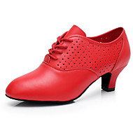 billiga Dansskor-Dam Moderna skor Läder Oxfordsko / Sneaker Bastant klack Dansskor Svart / Röd / Prestanda / Träning