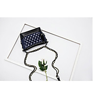 baratos Bolsas de Ombro-Mulheres Bolsas PU Bolsa de Ombro Botões Branco / Preto / Azul Real