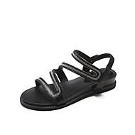 baratos Sapatos Femininos-Mulheres Sapatos Glitter / Couro Ecológico Verão / Outono Conforto Sandálias Caminhada Sem Salto Dedo Aberto Gliter com Brilho Preto /