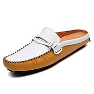 baratos Sapatos Masculinos-Homens Pele Verão Conforto Tamancos e Mules Preto / Amarelo / Azul