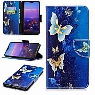Kılıf Na Huawei P20 Pro / P20 lite Portfel / Etui na karty / Z podpórką Pełne etui Motyl Twardość Skóra PU na Huawei P20 / Huawei P20 Pro / Huawei P20 Lite / P10 Lite / P10