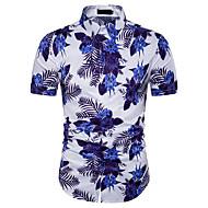 男性用 Tシャツ 活発的 / ベーシック シャツカラー スリム フラワー コットン / ポリエステル / 半袖