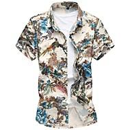 Herre - Blomstret Bomuld Basale Strand Skjorte Blå XXXXL / Kortærmet / Sommer