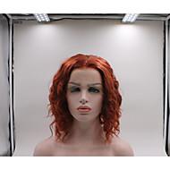 Syntetisk Lace Front Parykker Dame Krøllet Rød Frisure i lag Syntetisk hår curling Rød Paryk Kort Blonde Front Vandmelon Rød / Ja