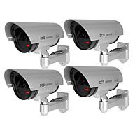 billige Utendørs IP Nettverkskameraer-veskys® 4pcs / sett vanntett utendørs sikkerhet falsk overvåkning monitor cctv sikkerhet simulering kamera flash webkamera for hjemme butikk