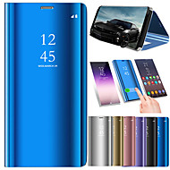 billiga Mobil cases & Skärmskydd-fodral Till Huawei P20 Pro / P20 lite med stativ / Plätering / Spegel Fodral Enfärgad Hårt PU läder för Huawei P20 / Huawei P20 Pro / Huawei P20 lite / P10 Plus / P10 Lite / P10