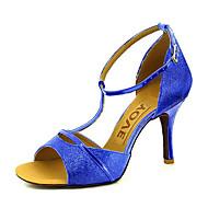 baratos Sapatos de Dança Personalizados-Mulheres Sapatos de Dança Latina / Sapatos de Salsa Glitter / Courino Sandália / Salto Presilha / Cadarço de Borracha Salto Personalizado