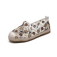 baratos Sapatos Femininos-Mulheres Sapatos Linho Primavera Verão Alpargata Rasos Sem Salto Ponta Redonda Lantejoulas Dourado / Prata / Roxo