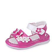 tanie Obuwie dziewczęce-Dla dziewczynek Obuwie Derma Lato Comfort / Buty dla małych druhen Sandały Spacery na Niemowlę Czerwony / Różowy