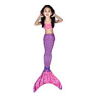 The Little Mermaid Aqua Princess Μαγιό Μπικίνι Στολές Παιδικά Γυναικεία Σλιπ για Τουαλέτα Γοργόνα και Τρομπέτα Μπικίνι Χριστούγεννα Halloween Απόκριες Γιορτές / Διακοπές Ελαστίνη Tactel Βυσσινί
