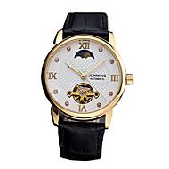 billige Mekaniske Ure-Herre Mekanisk Ur Japansk Kronograf Ægte læder Bånd Mode Sort
