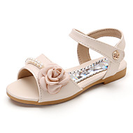 cheap Girls' Shoes-Girls' Shoes Leatherette Summer Comfort Sandals Satin Flower for Kids Outdoor Beige Blue Pink