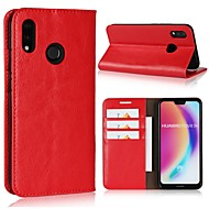 billiga Mobil cases & Skärmskydd-fodral Till Huawei P20 lite P20 Pro Korthållare Plånbok Lucka Fodral Enfärgad Hårt Äkta Läder för Huawei P20 lite Huawei P20 Pro Huawei