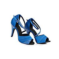 cheap Dance Shoes-Women's Latin Shoes Satin Sneaker Crystals Slim High Heel Dance Shoes Black / Purple / Blue / Practice