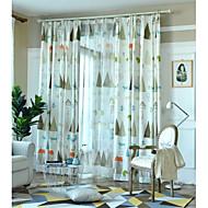 billige Gardiner-gardiner gardiner Soverom Blomstret 100% Polyester Trykket