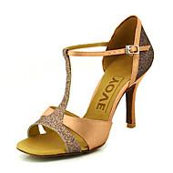 baratos Sapatilhas de Dança-Mulheres Sapatos de Dança Latina / Dança de Salão Cetim Sandália Presilha Salto Personalizado Personalizável Sapatos de Dança Azul / Amarelo / Fúcsia / Couro / Couro
