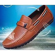 Hombre Mocasín Cuero Verano Zapatos de taco bajo y Slip-On Negro / Amarillo / Marrón