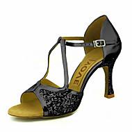 baratos Sapatilhas de Dança-Mulheres Sapatos de Dança Latina / Sapatos de Salsa Glitter / Courino Sandália / Salto Presilha / Cadarço de Borracha Salto Personalizado Personalizável Sapatos de Dança Vermelho / Prateado / Dourado
