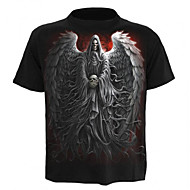Herre - Farveblok Portræt Dødningehoveder Trykt mønster Kranium overdrevet T-shirt