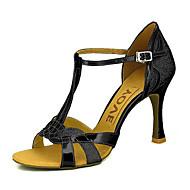 baratos Sapatilhas de Dança-Mulheres Sapatos de Dança Latina / Sapatos de Salsa Glitter / Courino Sandália / Salto Presilha / Cadarço de Borracha Salto Personalizado