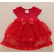 שמלה כותנה עד הברך ללא שרוולים פפיון / רשת / טלאים אחיד כחול ולבן חגים בנות תִינוֹק / חמוד