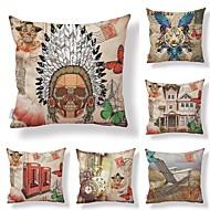 billige Putevar-6 stk Tekstil / Bomull / Lin Putevar, Blomstret / Art Deco / Printer Kunstnerisk / Kvadrat-formet