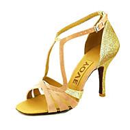 baratos Sapatilhas de Dança-Mulheres Sapatos de Dança Latina / Dança de Salão / Sapatos de Salsa Cetim Sandália Presilha / Cadarço de Borracha Salto Personalizado Personalizável Sapatos de Dança Amarelo / Fúcsia / Púrpura