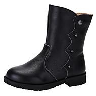 baratos Sapatos de Menina-Para Meninas Sapatos Pele Outono / Inverno Botas da Moda / Coturnos Botas Tachas para Preto / Café / Vermelho
