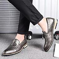 baratos Sapatos Masculinos-Homens Couro Ecológico Outono Conforto Mocassins e Slip-Ons Preto / Prata / Amarelo