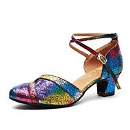 billige Moderne sko-Dame Moderne sko Lakklær Høye hæler Paljett Tykk hæl Dansesko Regnbue