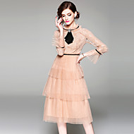 Women's Holiday / Going out Vintage / Sophisticated Flare Sleeve A Line Dress - Solid Colored Lace High Waist Spring Beige L XL XXL