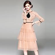 Damskie Święto Wyjściowe Vintage Wyrafinowany styl Flare rękawem Linia A Sukienka - Solidne kolory, Koronka Wysoka talia Midi