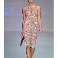 Γυναικεία Αργίες Βίντατζ / Εκλεπτυσμένο Λεπτό Εφαρμοστό Φόρεμα - Γεωμετρικό, Στάμπα Πάνω από το Γόνατο Βαθύ V