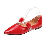 Χαμηλού Κόστους Γυναικείες Μπαλαρίνες-Γυναικεία Παπούτσια PU Ανοιξη καλοκαίρι Ανατομικό Χωρίς Τακούνι Περπάτημα Επίπεδο Τακούνι Μυτερή Μύτη Φτερό Μαύρο / Κόκκινο / Χακί