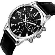 לזוג שעון יד קווארץ מתכת אל חלד עור שחור / חום כרונוגרף שעונים יום יומיים אנלוגי קלסי אלגנטית מינימליסטי - חום שחור כחול כסף /  שחור שנה אחת חיי סוללה