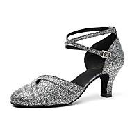 billige Moderne sko-Dame Moderne sko Lakklær Høye hæler Paljett Tykk hæl Dansesko Svart / Hvit