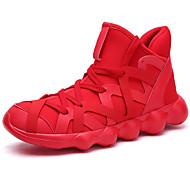 baratos Sapatos Masculinos-Homens Sapatos Confortáveis Tricô / Tecido elástico Outono Esportivo / Casual Tênis Corrida Manter Quente Preto / Vermelho / Branco / Preto
