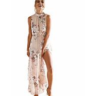 Women's Floral Going out Weekend Maxi Chiffon Dress High Waist Turtleneck Cotton Beige M L XL / Sexy
