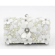 baratos Clutches & Bolsas de Noite-Mulheres Bolsas Algodão Bolsa de Festa Renda / Detalhes em Pérolas Branco