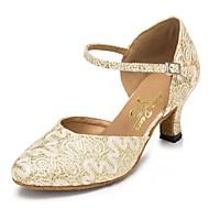 billige Moderne sko-Dame Moderne sko Chiffon Høye hæler Blonder Kubansk hæl Kan spesialtilpasses Dansesko Gull