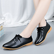 cheap Women's Oxfords-Women's Shoes Cowhide Spring Comfort Oxfords Flat Heel Black / Orange / Yellow