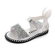 baratos Sapatos de Menina-Para Meninas Sapatos Couro Ecológico Verão Conforto Sandálias Caminhada Gliter com Brilho / Velcro para Infantil Preto / Prateado / Rosa