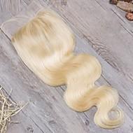 Guanyuwigs Βραζιλιάνικη 4x4 Κλείσιμο Κυματιστό Δωρεάν Μέρος / Μεσαίο τμήμα / 3 Μέρος Ελβετική δαντέλα Φυσικά μαλλιά Γυναικεία με τα μαλλιά μωρών / Μαλακό / Γυναικεία Καθημερινά / Ξανθό / Ξανθό